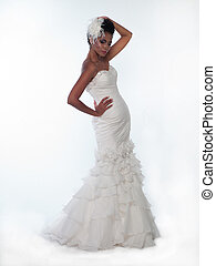 African-American woman in a wedding dress