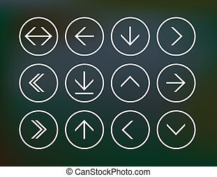 Set of round arrow icons - Vector illustration of thin arrow...