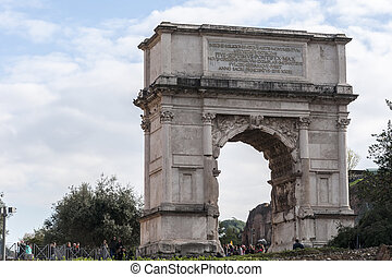 Arch of Titus - Tourists visiting the Arch of Titus on...