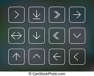 Set of arrow icons - Vector illustration of thin arrow icons...