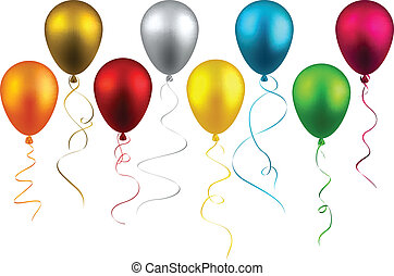 Set of realistic balloons - Set of colorful realistic...