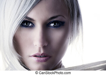 fashion color - beauty portrait of a cute blond girl with...