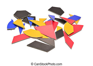 tangram, cardboard puzzle game isolated on white
