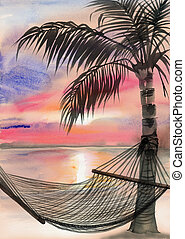 Palm beach resort - Tropical resort sunset view with a palm...