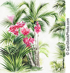 Palm bamboo oasis - Watercolor painting of tropical plants....