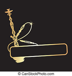 dorado, diseño, narguile