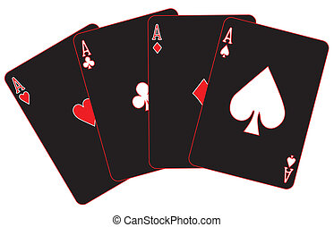 Winning Hand - The four aces on black with red trim all...