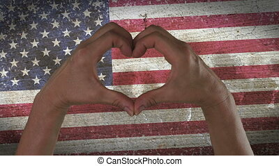 Hands Heart Symbol USA Flag - With a stylized American flag...
