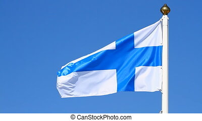 Flag of Finland on a background blue sky