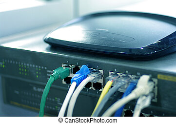 Router with cable wires, IT industry internet router with...