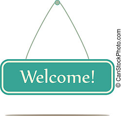 Welcome sign, vector