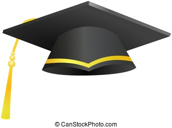 Academy graduation hat with tassel isolated on white