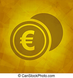 Euro Icon on Yellow abstract Background. Vector