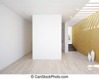 modern interior - modern interior with empty wall 3D concept...