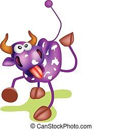 Purple cow - Crazy cow illustration