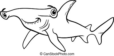 hammerhead shark coloring book - Black and White Cartoon...
