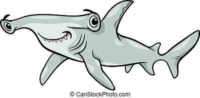 hammerhead shark cartoon illustration - Cartoon Illustration...