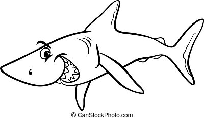 shark animal cartoon coloring book - Black and White Cartoon...