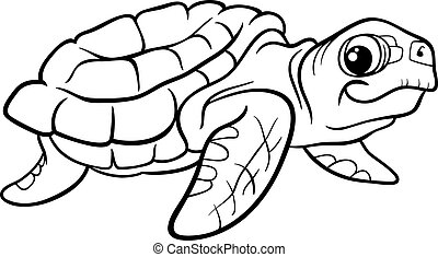 sea turtle coloring book - Black and White Cartoon...