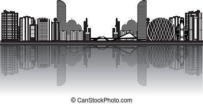 abu dhabi skyline landmark illustration black and white