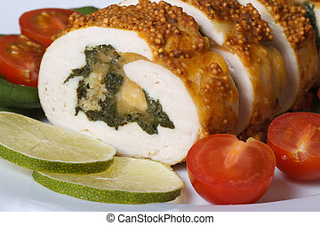 chicken breast filled with spinach and cheese macro and...