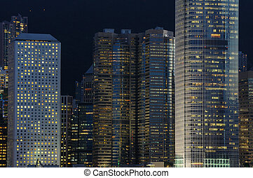 Night scene of business buildings - Details of business...