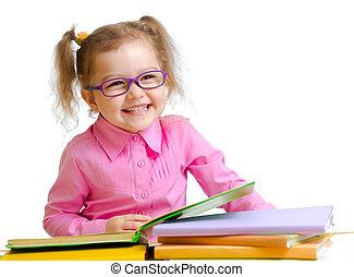 sentando, ÓCULOS, LIVROS, criança, tabela, menina, leitura,...