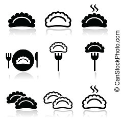 Dumplings, food vector icons set - Warm dumplings, dumpling...