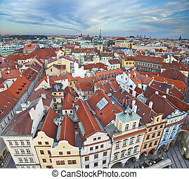 Prague. - Aerial view of the old town of Prague, Czech...