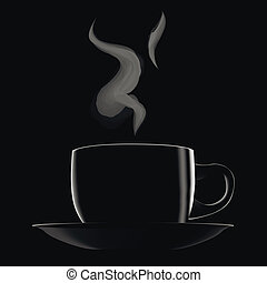 Black hot cup of coffee