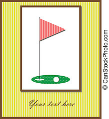 Golf card - Vector illustration of a card with flag and golf...