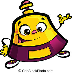 Happy cartoon reception bell help desk character welcome...