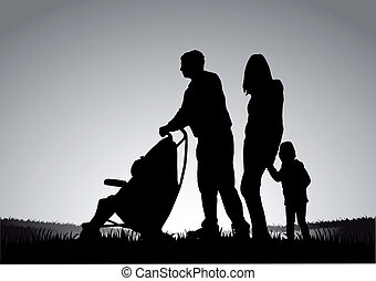 Family on a walk. Silhouettes of people.