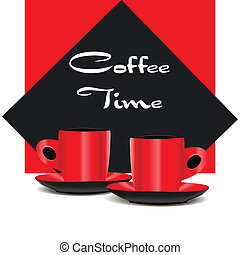 Red coffee cups - Two red coffee cups on red and black...
