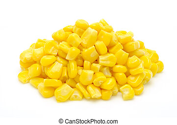 Stack of sweetcorn kernels in isolated white background