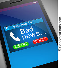 Bad news concept. - Illustration depicting a phone with a...