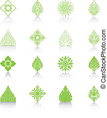 Set of Line Thai Art, Icons Vector Illustration