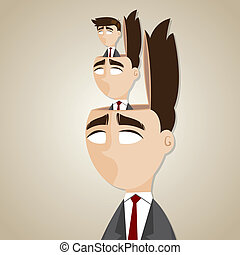 cartoon duplicate businessman in his head - illustration of...