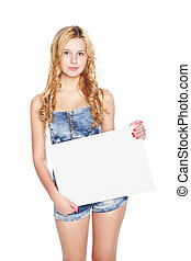 Beautiful blonde young woman with blank banner.