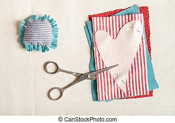 Materials for needlework.