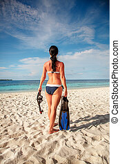 Girl and snorkeling gear - Girl in bikini with snorkeling...