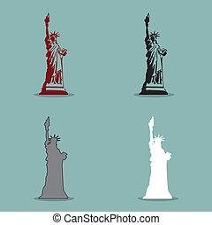Statue of Liberty Black Silhouette Vector Illustration