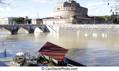 Wooden Dock After Flood - Wooden Dock on Tiber River after...