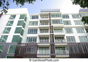 modern condominium, apartment with white and lot of glass