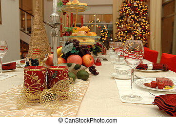 Christmas dinner set - Table set of a christmas dinner meal