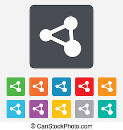 Share sign icon Link technology symbol Rounded squares 11...