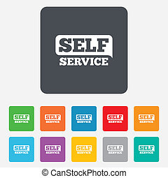 Self service sign icon Maintenance button Rounded squares 11...