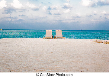 Sun bed on the sea shore - White Sand sea - View from front...