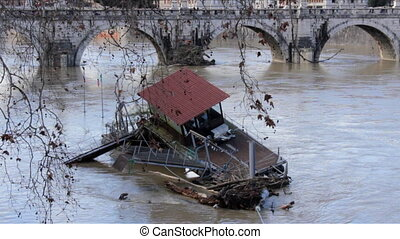 Wooden Dock Destroyed by Flood - Wooden Dock on Tiber River...