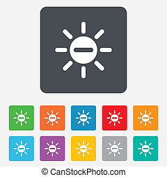 Sun minus sign icon Heat symbol Brightness - Sun minus sign...